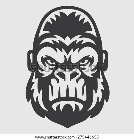 Gorilla Head Logo Mascot Emblem - stock vector