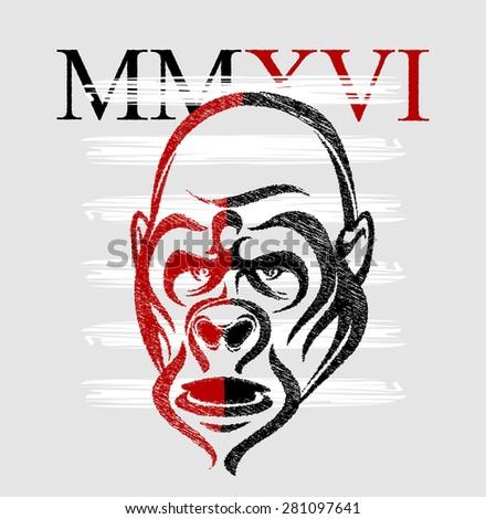 Gorilla head print MMXVI (2016) - stock vector