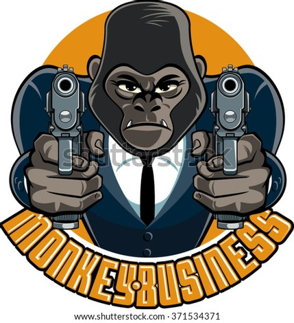 gorilla in suit aiming with pistols and text monkey business - stock vector