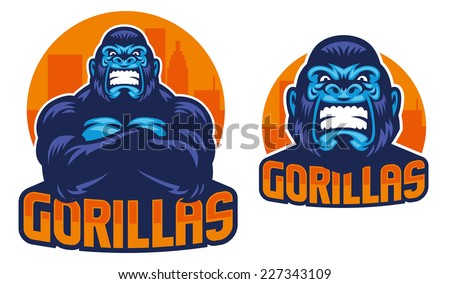 gorilla pose - stock vector