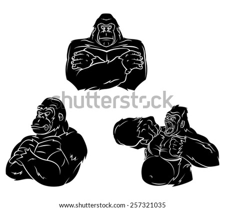 Gorilla Strong Mascot - stock vector