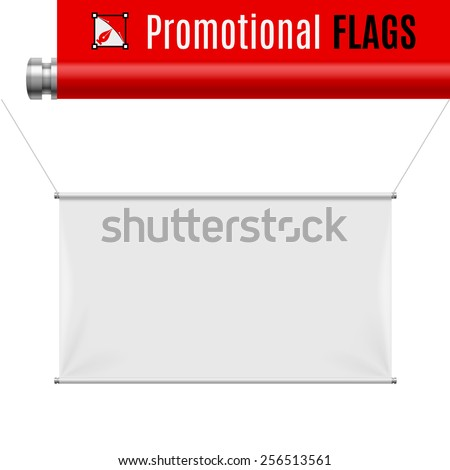Gorizontal white promotional flag hanging on threads on a gray background - stock vector