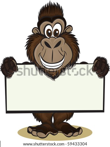 Gorrilla holding sign - stock vector