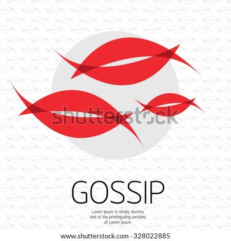 Gossip  concept , mouth, lips vector - stock vector