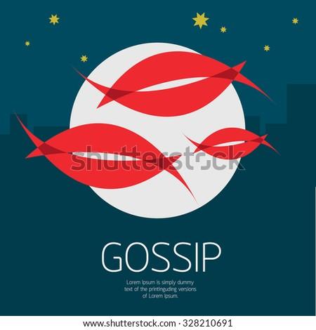 Gossip night concept , mouth, lips vector - stock vector