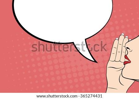 Gossiping women and blank speech bubble, pop art style. Vector - stock vector