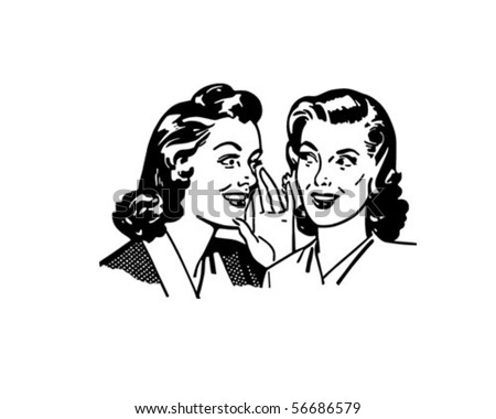 Gossiping Women - Retro Clip Art - stock vector