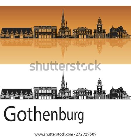 Gothenburg skyline in orange background in editable vector file - stock vector
