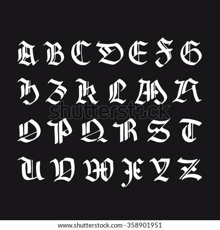 Gothic Alphabet Hand Drawn Black Letters White Symbols On Background