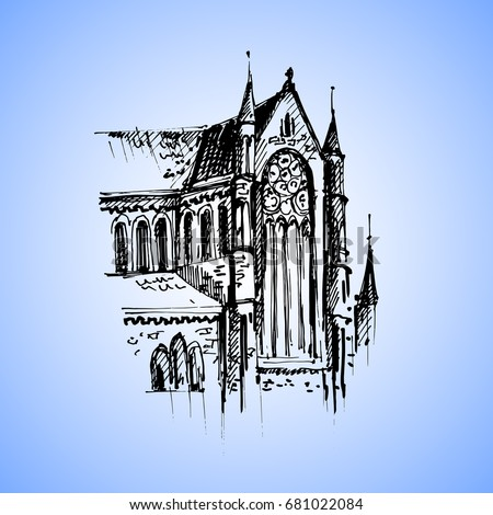 Gothic Architecture Hand Drawn Cathedral Vector Illustration