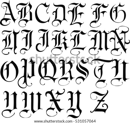 Gothic Font Vector Stock Royalty Free 531057064