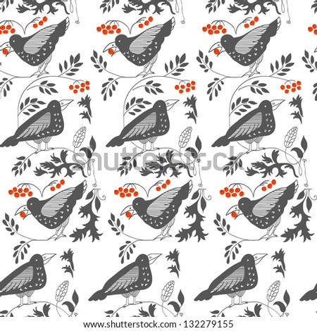 Gothic pattern with raven. - stock vector