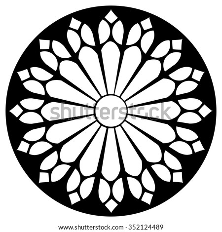 Gothic Rosette Window Pattern Vector Black And White Illustration