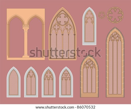 Gothic windows in central Europe - stock vector