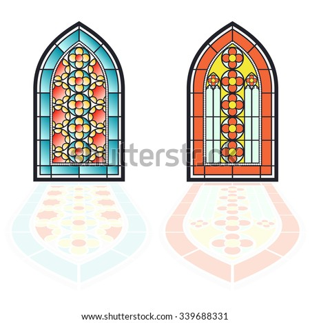 Gothic windows. Vintage frames. Church stained-glass windows