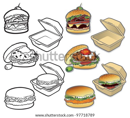 Gourmet Burger Icons A set of vector icons of delicious gourmet fast good - fully editable layers included.