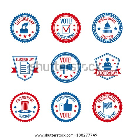 Government and presidential elections and voting labels set with capitol building person symbols isolated vector illustration - stock vector