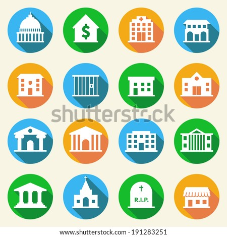 Government building flat icons set of police  museum library theater isolated vector illustration - stock vector