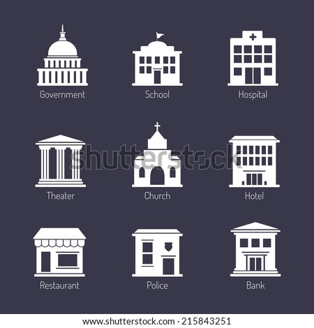 Government building icons set - stock vector