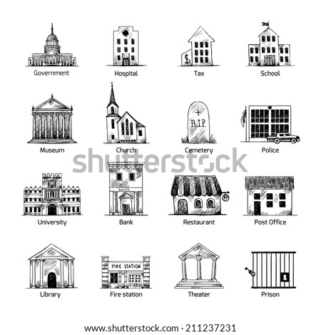 Government building icons set in hand draw style of post cemetery museum school church theater isolated vector illustration - stock vector