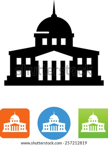 Government building. Vector icons for video, mobile apps, Web sites and print projects. - stock vector