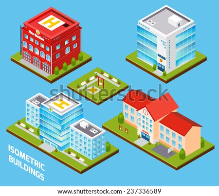 Government buildings 3d isometric set with fire station police hospital school isolated vector illustration