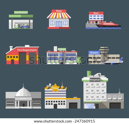 Government flat buildings decorative icons set with gas station shop port isolated vector illustration - stock vector