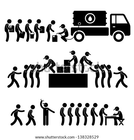 Government Helping Citizen Water Food Stock Supply Community Relief Support Stick Figure Pictogram Icon - stock vector