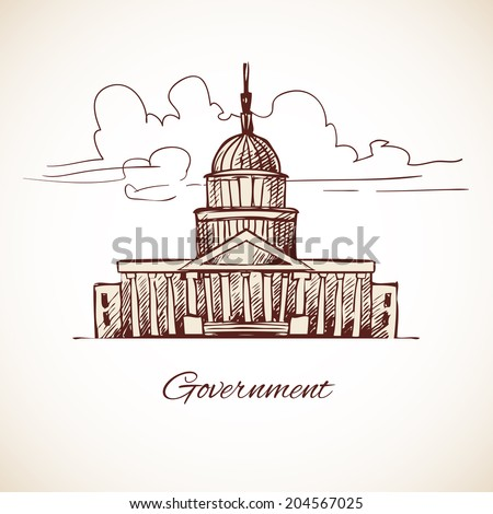 Government law politic building with skyline in brown color vector illustration - stock vector