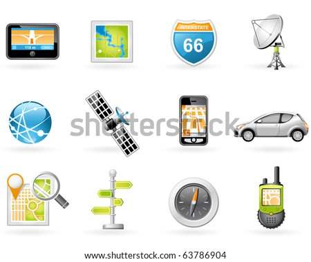 GPS and Navigation Icon Set - stock vector