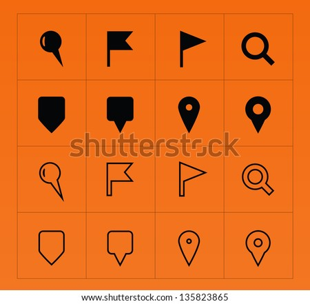 GPS and Navigation icons on orange background. Vector illustration. - stock vector