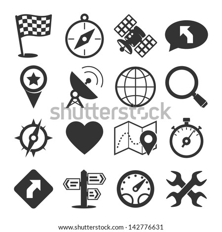 GPS and navigation icons set - stock vector