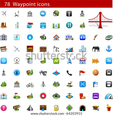 GPS and Waypoint Icon set - stock vector
