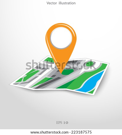 GPS city map with pointers. Vector illustration.  - stock vector