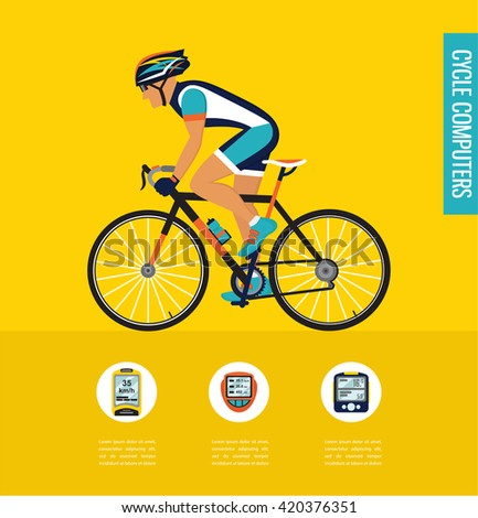 gps computers and apps for bike and cycling . infographics - stock vector
