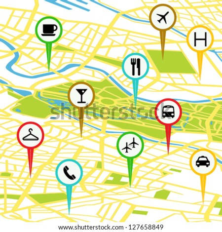 Gps icon set over a generic map - stock vector