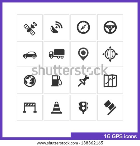 GPS icon set. Vector black pictograms for web and mobile app, interface design: satellite, signal, compass, wheel, car, truck, marker, position, globe, gas station, pin, map, cone, lights, flag symbol - stock vector