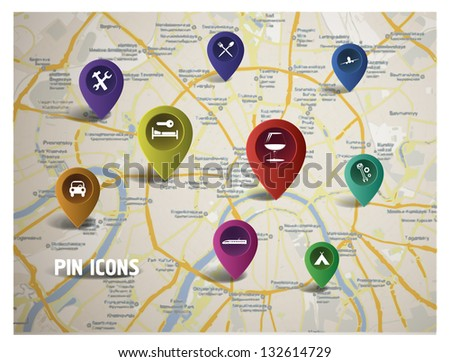 GPS icons on the map. - stock vector