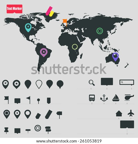 Gps map elements - stock vector