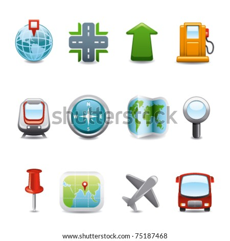 gps map icons - stock vector