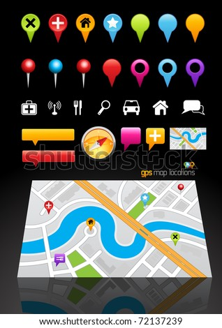 GPS Map Location Markers. Vector illustration - stock vector
