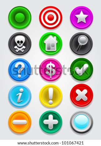 Gps map vector Icons / Buttons Collection - stock vector