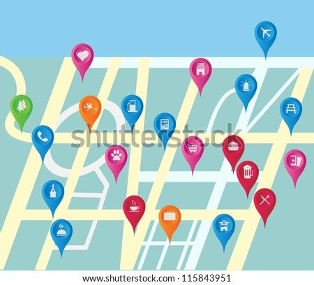 gps maps icon set location place - stock vector