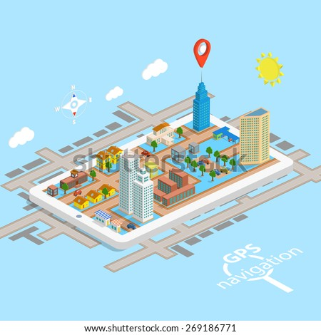 GPS Mobile Navigation Isometric Map. Vector Illustration. - stock vector
