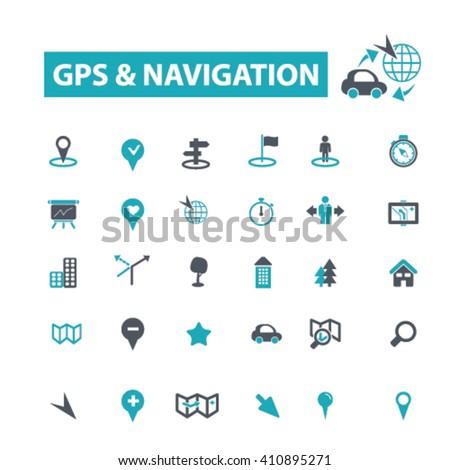 gps navigation icons  - stock vector