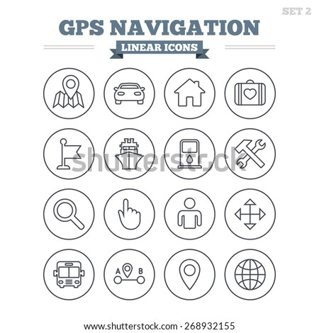 GPS navigation linear icons set. Car, Bus and Ship transport. You are here, map pointer symbols. Search gas or petrol stations, hotels. A to B distance. Thin outline signs. Flat vector - stock vector