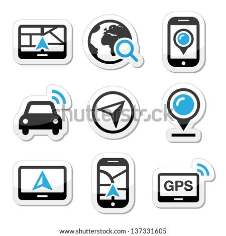 GPS, navigation travel vector icons set - stock vector