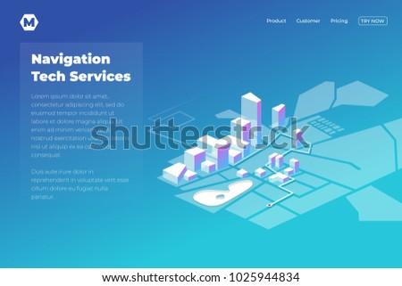 GPS Online Map Navigation Landing Page Stock Vector - Navigation map online