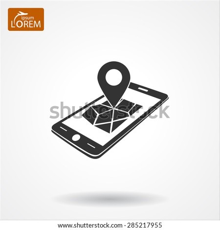 gps phone icon and map with marker. Vector  Eps 10  - stock vector
