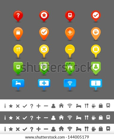 GPS pin and map icon set - stock vector